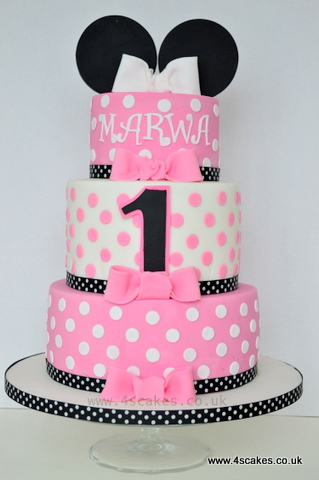 Three tier Minnie mouse theme First Birthday cake by Bromley London cake shop 4scakes