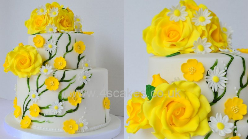 Two tier Wedding cake with yellow sugar roses made by 4S Cakes Bromley Cake makers