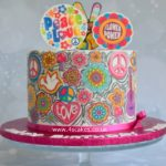 Flower power 1970s theme cake london cake makers in bromley