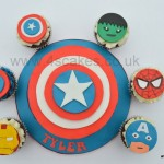 Avengers theme cake and cup cakes by 4S Cakes bromley Cake makers
