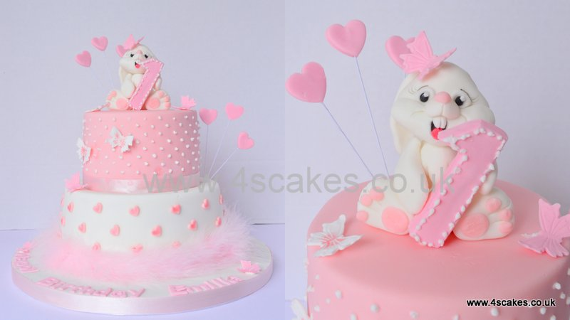Cute bunny on a first birthday cake  by 4SCakes Bromley Cake makers