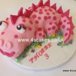 Pink 3D Dinosaur Birthday cake by 4S Cakes Bromley Beckenham Wedding Cake makers