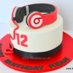 Head Phone cake in red by bromley london cake shop.