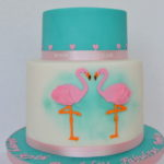 Pink and turquoise luxury wedding cake by East Dulwich forest hill lewisham london cake makers