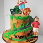 Foot ball fan and a Keen runner who like motorbikes birthday cake made by 4S Cakes Bromley Beckenham Wedding cake makers