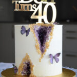 Geode birthday cake by wedding cake maker in london