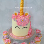 Unicorn cake with cup cakes